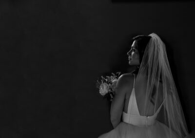 the bride black and white portrait